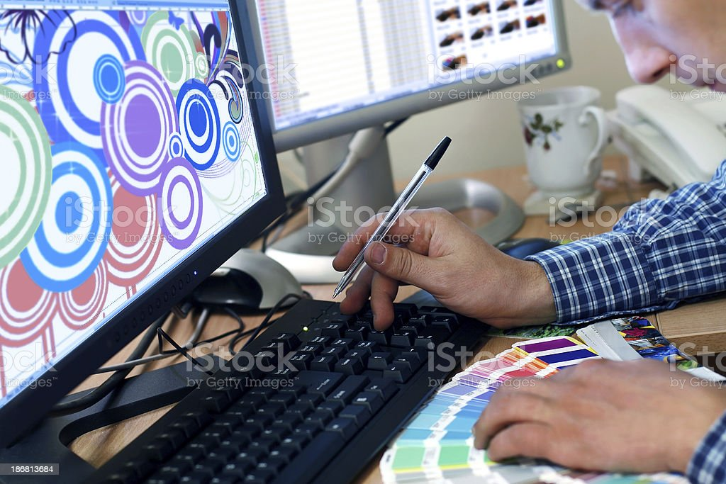 Graphic designer selects the color of the pattern. royalty-free stock photo