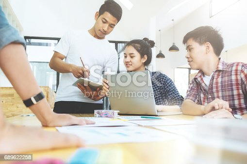 istock Graphic designer team, Student group , Business team brainstorming meeting. 689622258
