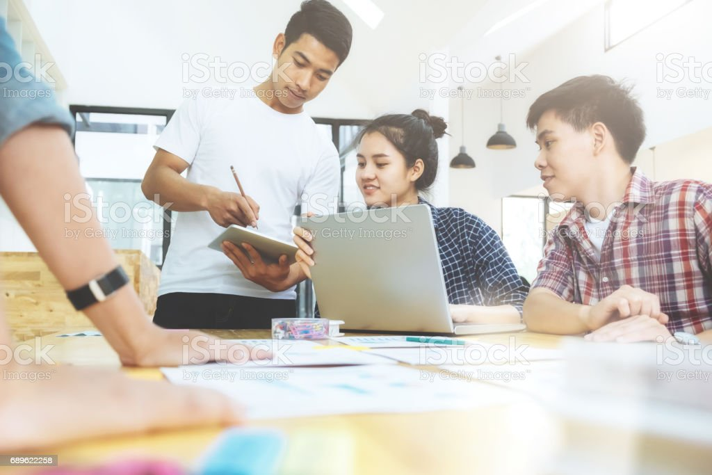 Graphic designer team, Student group , Business team brainstorming meeting. stock photo