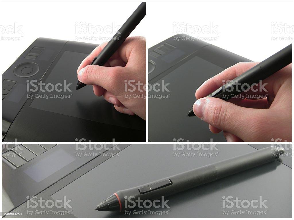 Graphic designer using graphic tablet stock photo