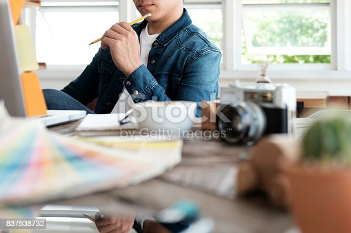 istock Graphic designer working. 837538732