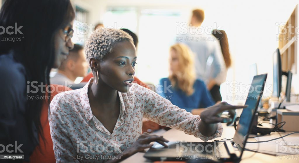Graphic designers at work. stock photo