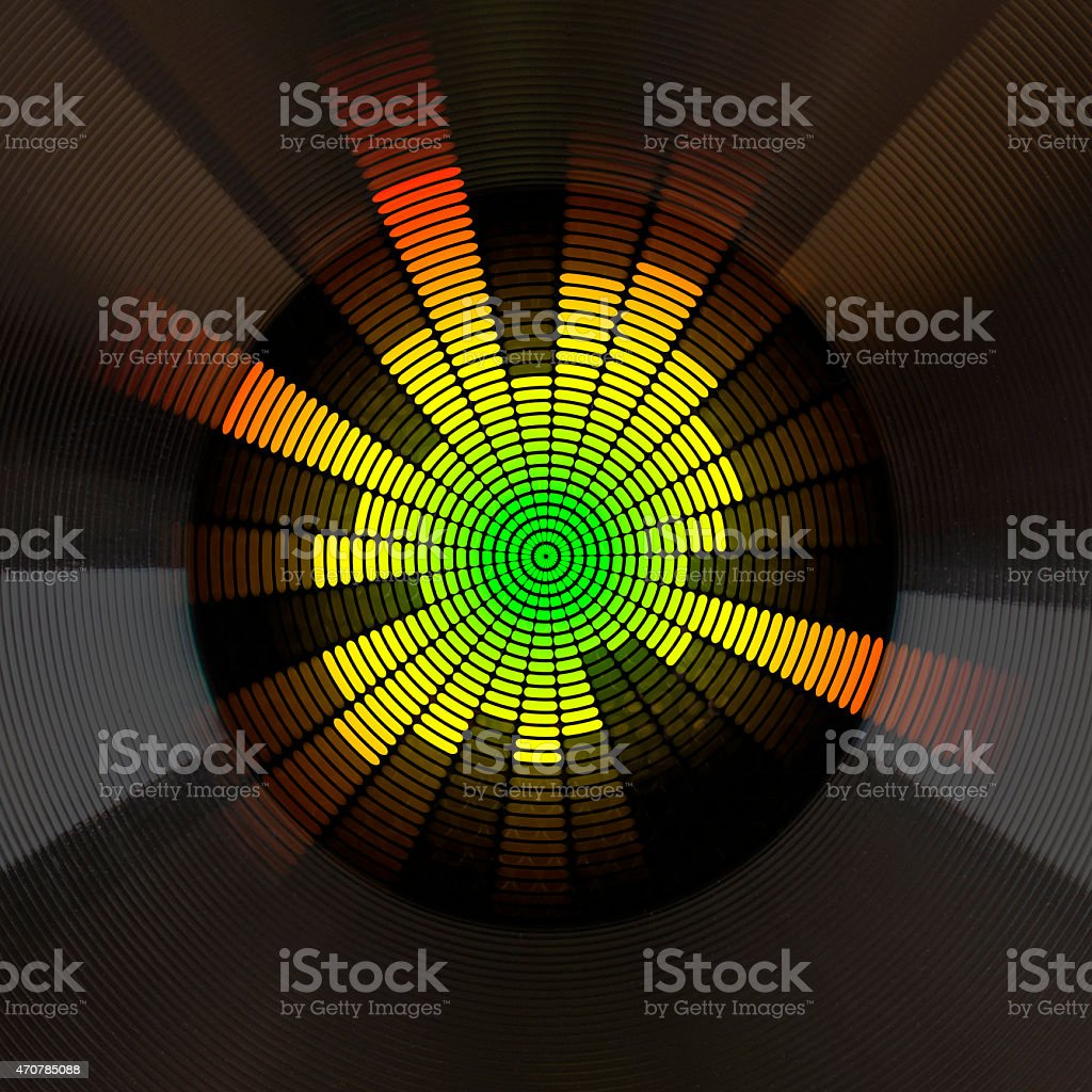 graphic equalizer and loudspeaker stock photo
