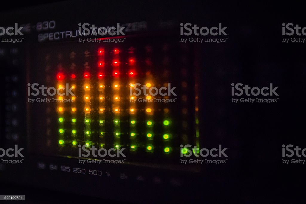 Graphic equalizer bars on an audio system stock photo