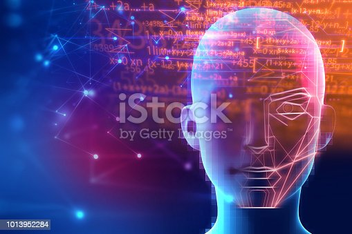 868362844 istock photo graphic face on abstract technology background 1013952284