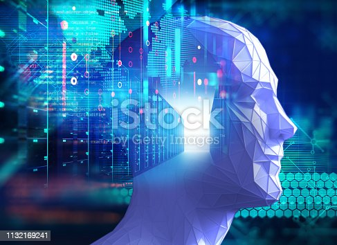 868362844 istock photo graphic face on abstract technology background 1132169241