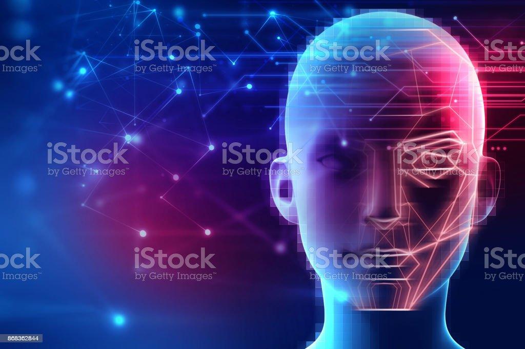 visage graphique sur fond de technologie abstraite - Photo