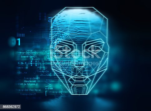 868362844 istock photo graphic face on abstract technology background 868362972