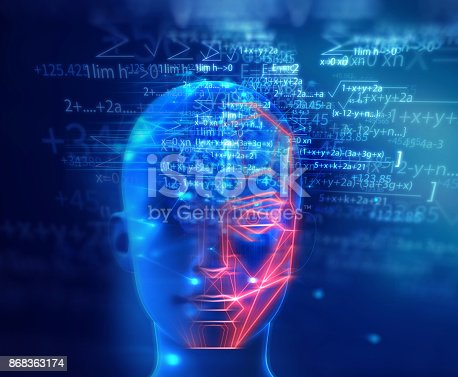 868362844 istock photo graphic face on abstract technology background 868363174