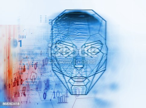 868362844 istock photo graphic face on abstract technology background 868363418