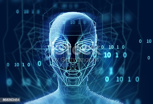 868362844 istock photo graphic face on abstract technology background 868363454