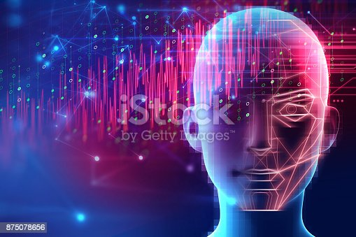 868362844 istock photo graphic face on abstract technology background 875078656