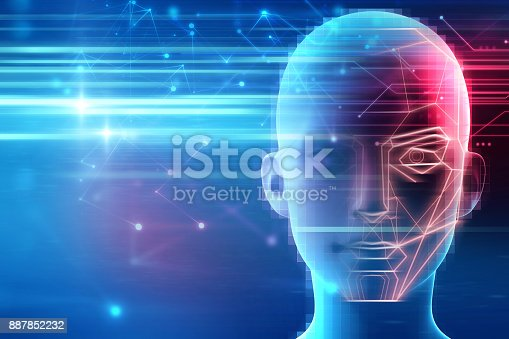 868362844 istock photo graphic face on abstract technology background 887852232