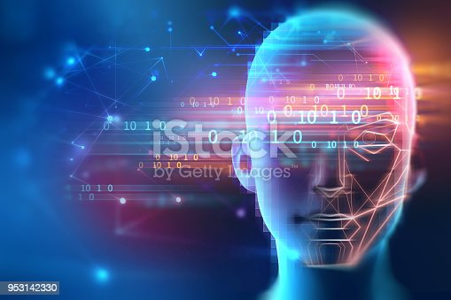 868362844 istock photo graphic face on abstract technology background 953142330