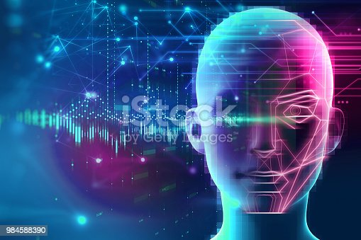 868362844 istock photo graphic face on abstract technology background 984588390