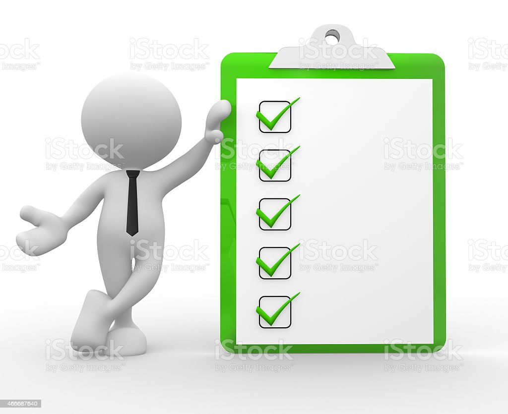Graphic icon of a business man with a tick box chart stock photo