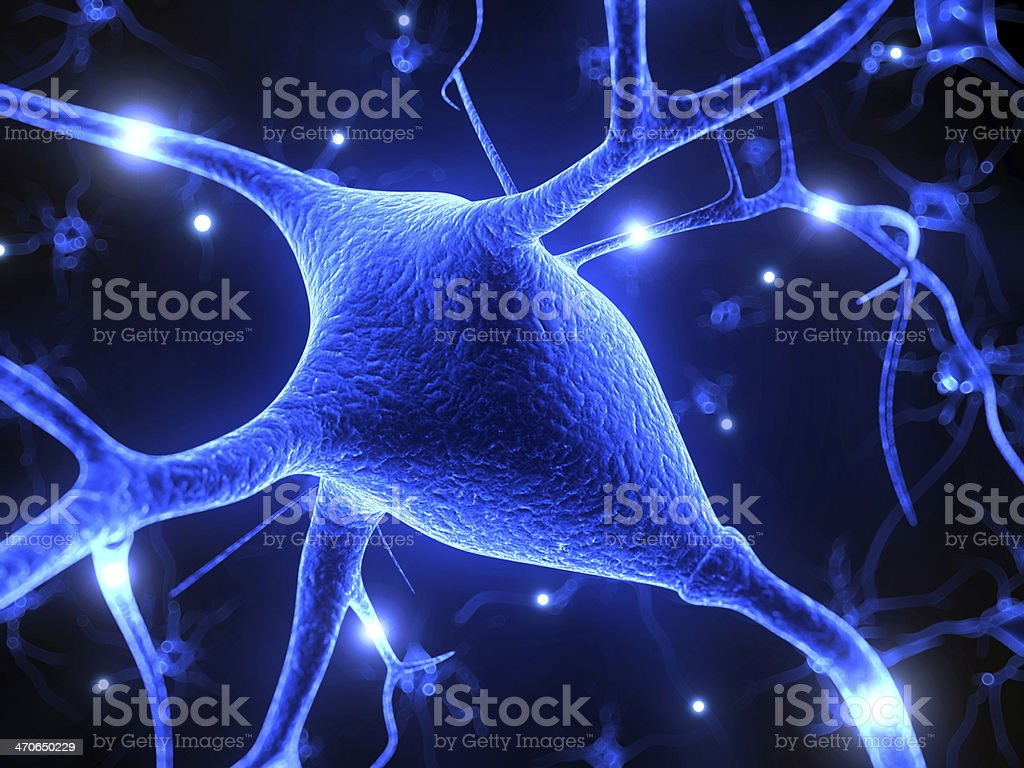 Graphic illustrating an active nerve cell stock photo