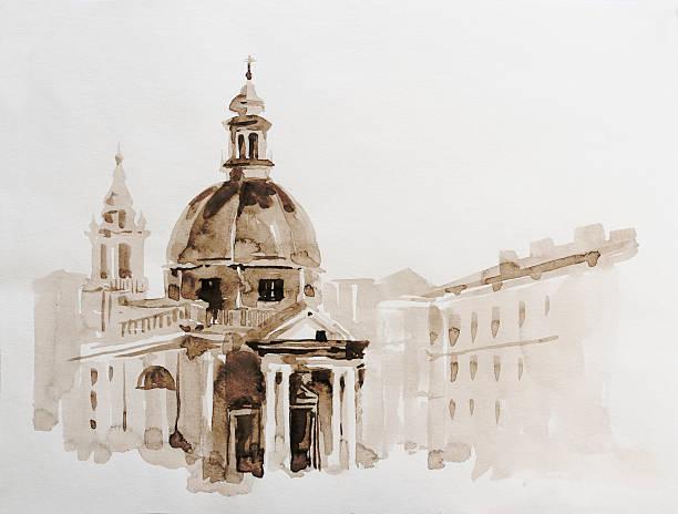 graphic illustration of rome. poster. duotone - italy poster bildbanksfoton och bilder
