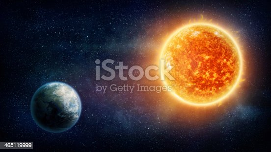 istock Graphic illustration of the Earth and the sun 465119999