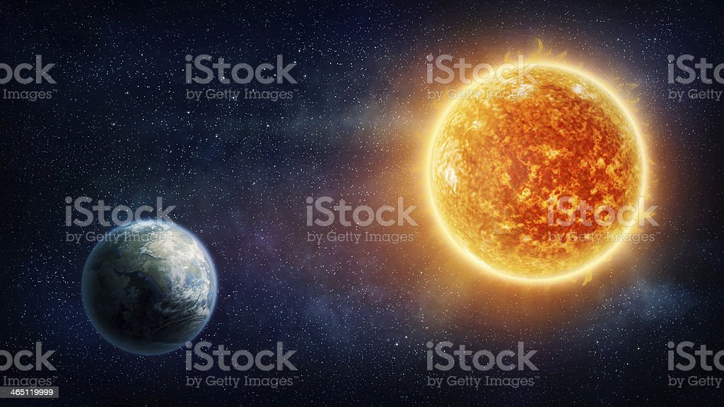 Graphic illustration of the Earth and the sun stock photo