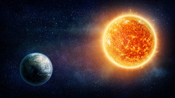 graphic illustration of the earth and the sun - aydınlık stok fotoğraflar ve resimler
