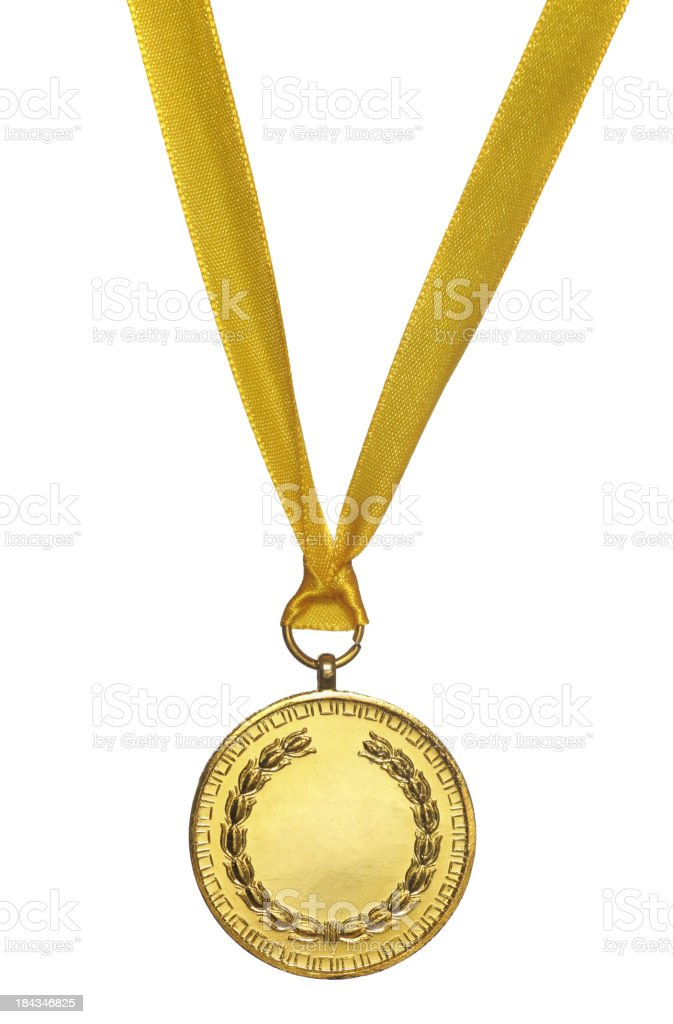 Graphic image of a gold medal on a white background stock photo