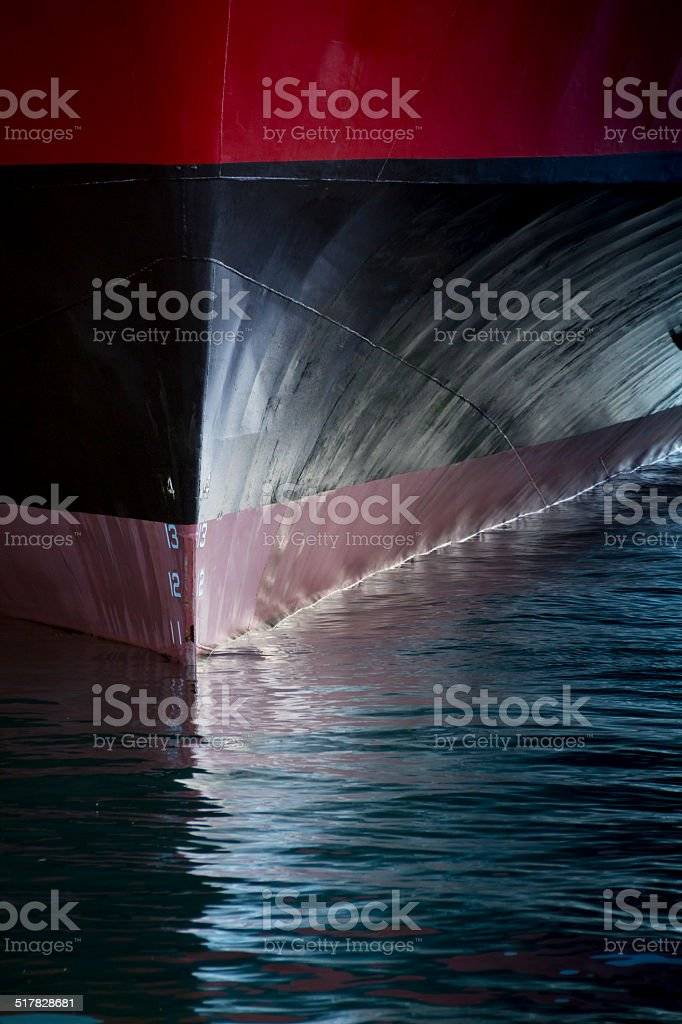 Graphic image showing the bow of a large ship stock photo
