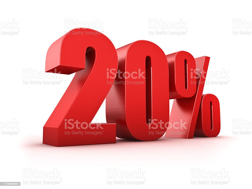 3D graphic of '20%' in red on a white background royalty-free stock photo
