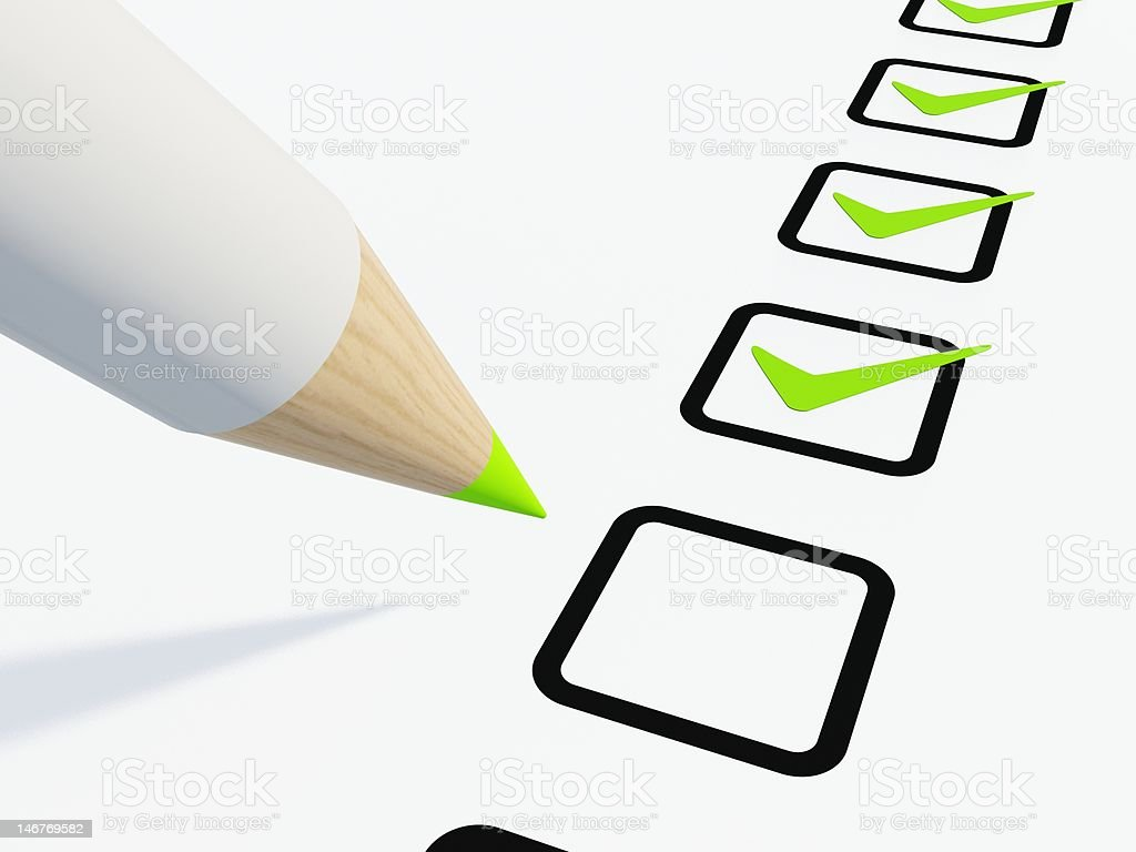 Graphic of a black checklist with green tick marks royalty-free stock photo