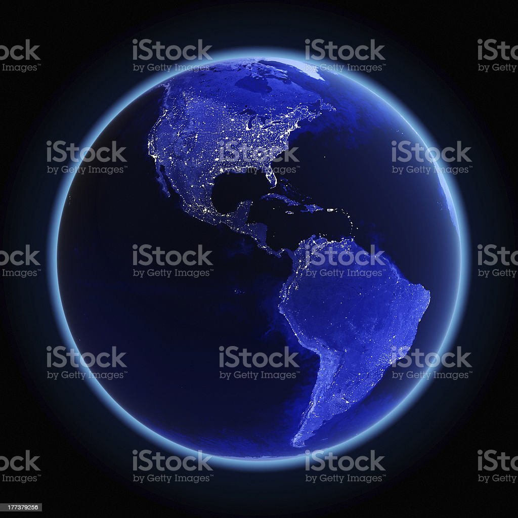 Graphic of a darkened Earth showing America's lights royalty-free stock photo