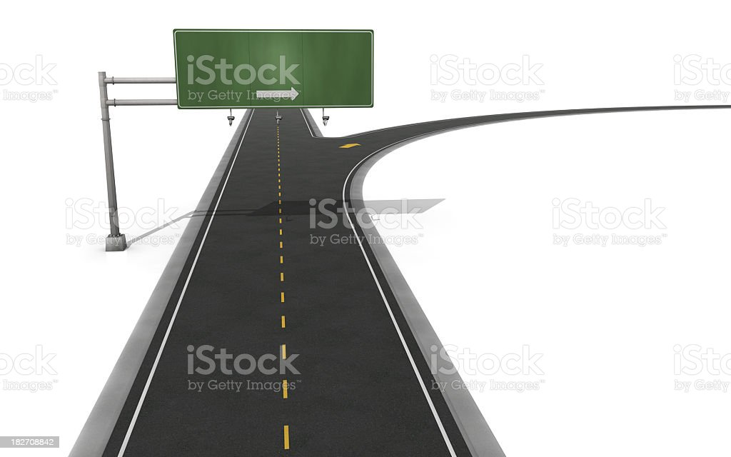 Graphic of a green sign showing the exit on a highway royalty-free stock photo