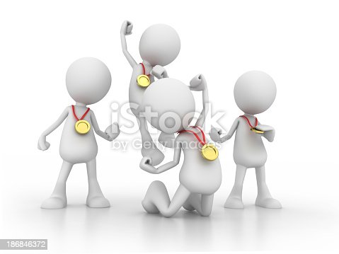 istock 3D graphic of four people celebrating with golden medals 186846372