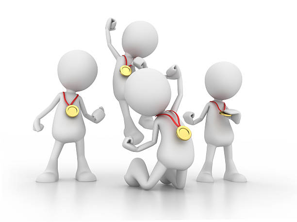 3d graphic of four people celebrating with golden medals - stick figure stock photos and pictures