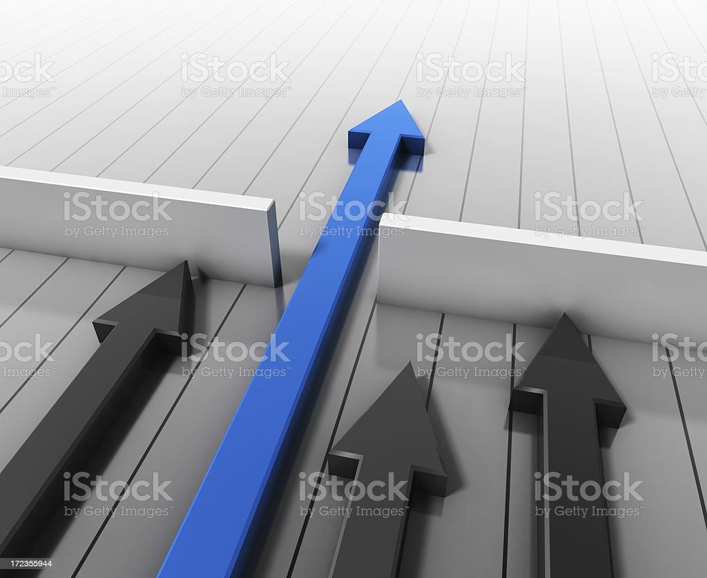 Graphic of gray arrows and one blue arrow leading the way stock photo