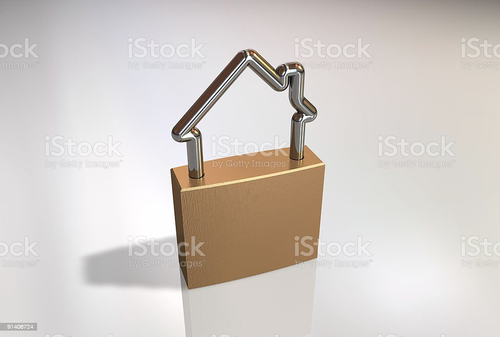 3D graphic of house shaped padlock royalty-free stock photo