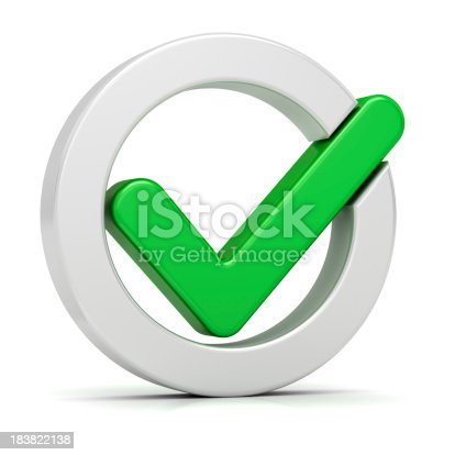 istock Graphic of large green tick within white circle 183822138