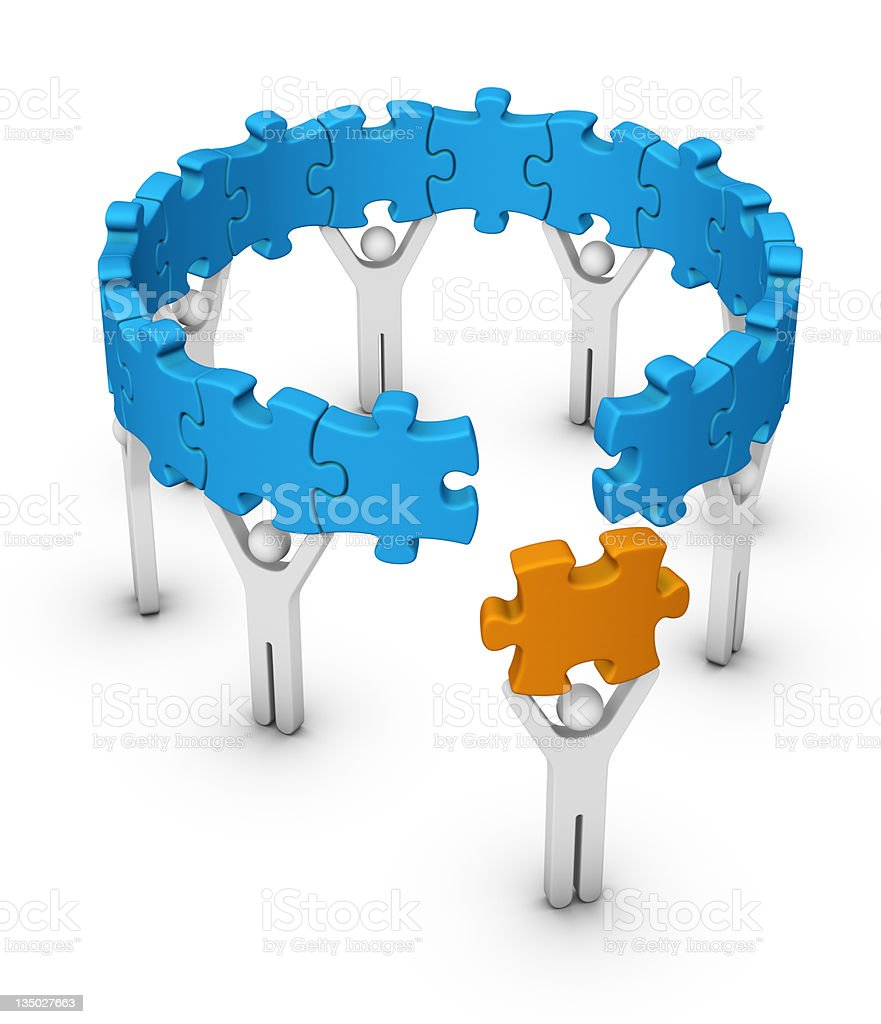 Graphic of man hold las jigsaw piece to make a circle stock photo