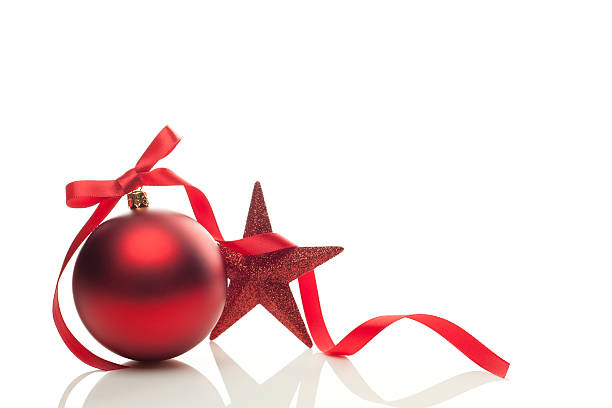 Graphic of red Christmas ornament, ribbon and star stock photo