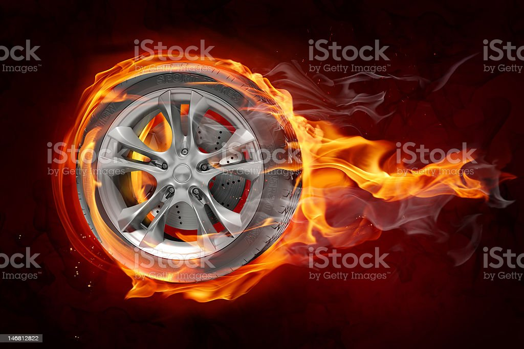 Graphic of single tire with flames stock photo