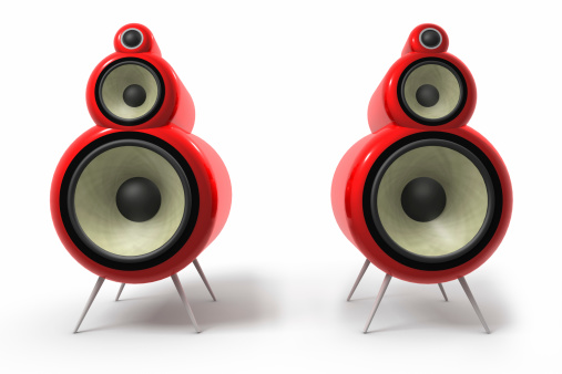 Tube loudspeakers in red high glossy paint, rendered in 3D.