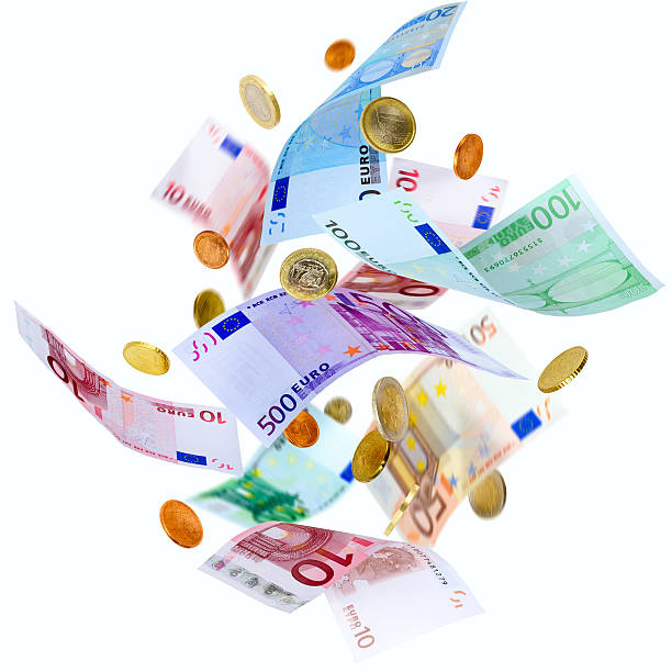 Graphic of whirling bunch of Euros on a white background stock photo