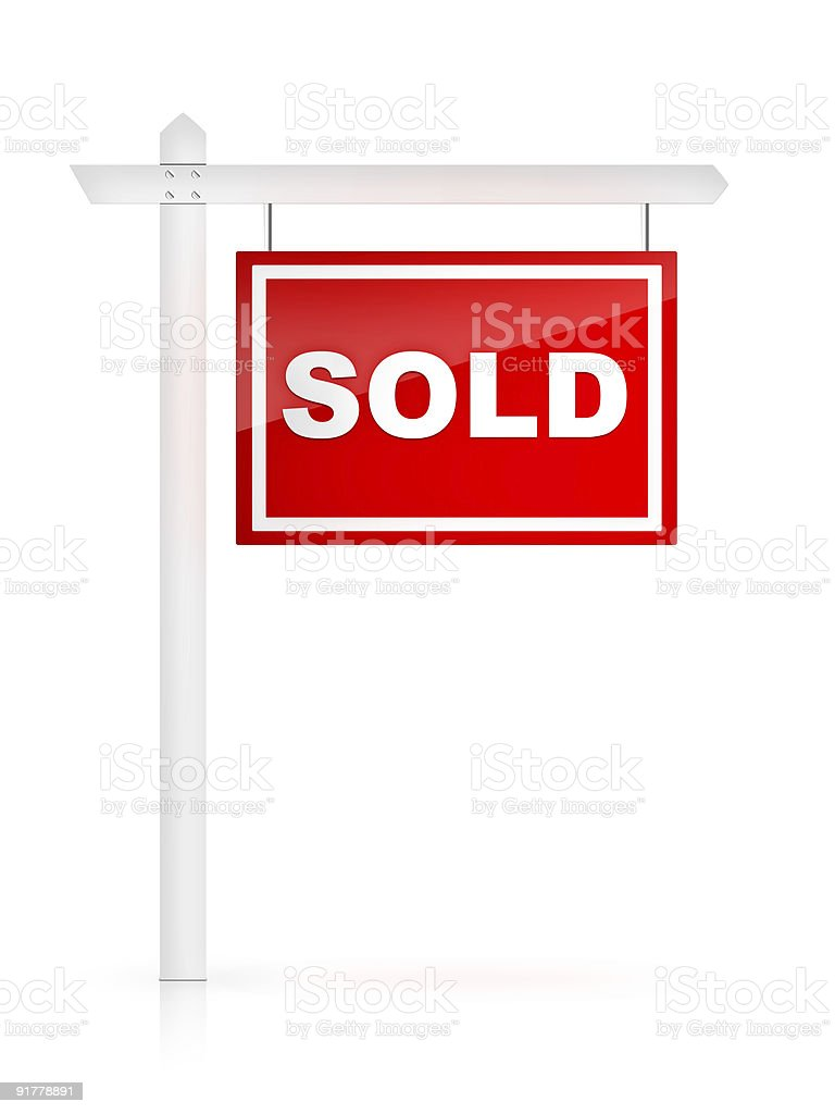 Graphic of white post with red SOLD sign royalty-free stock photo