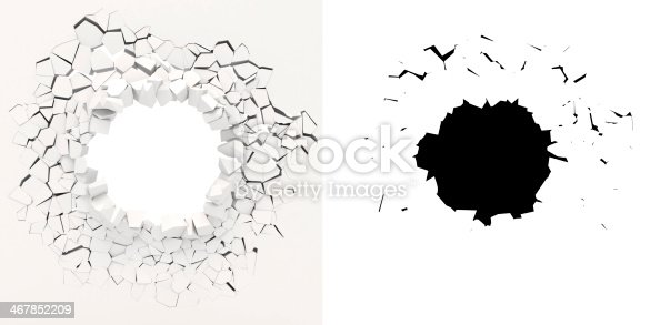 istock 3D graphic of white wall crumbling from inside 467852209