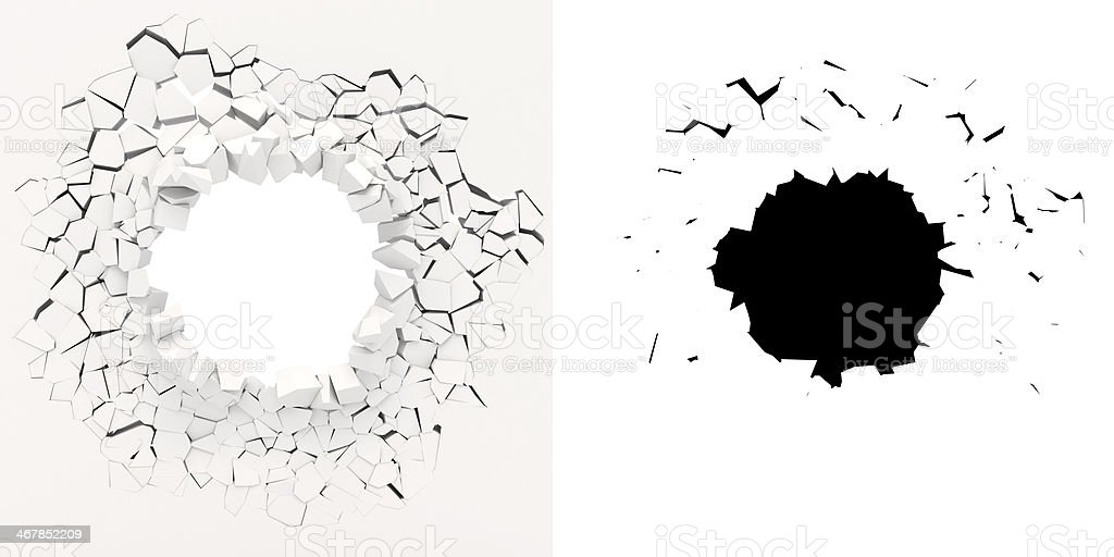3D graphic of white wall crumbling from inside stock photo