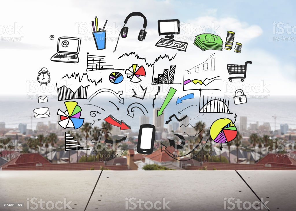 Graphic on cityscape background stock photo