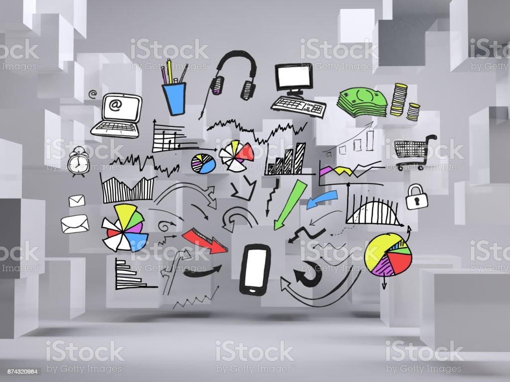 Graphic on grey background with cubes stock photo