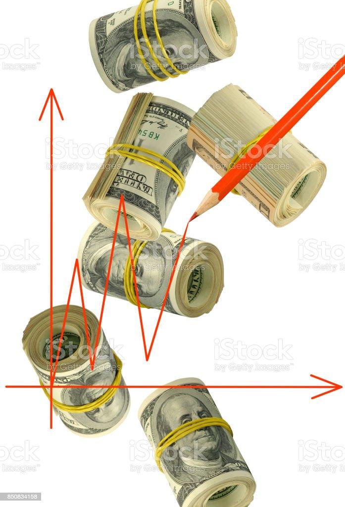 graphic on money background close-up stock photo