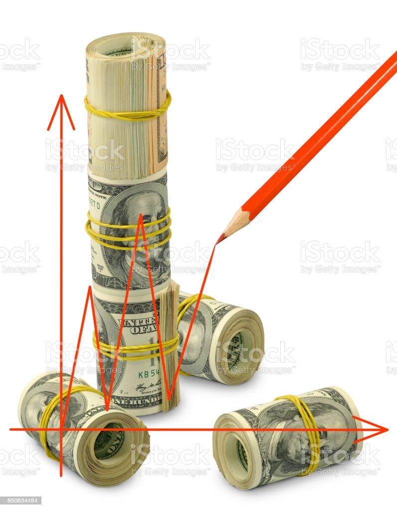 graphic on money background closeup stock photo