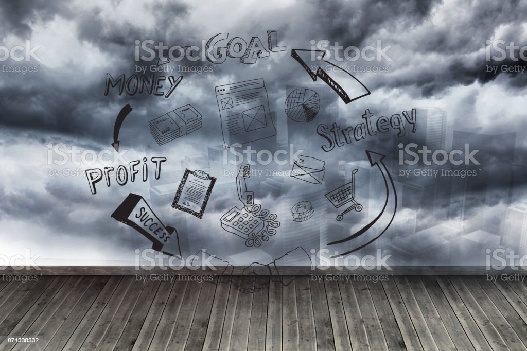 Graphic on wall with stormy sky stock photo