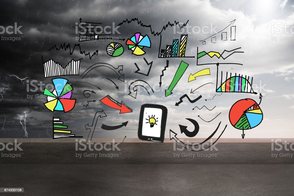 Graphic over balcony and stormy sky stock photo